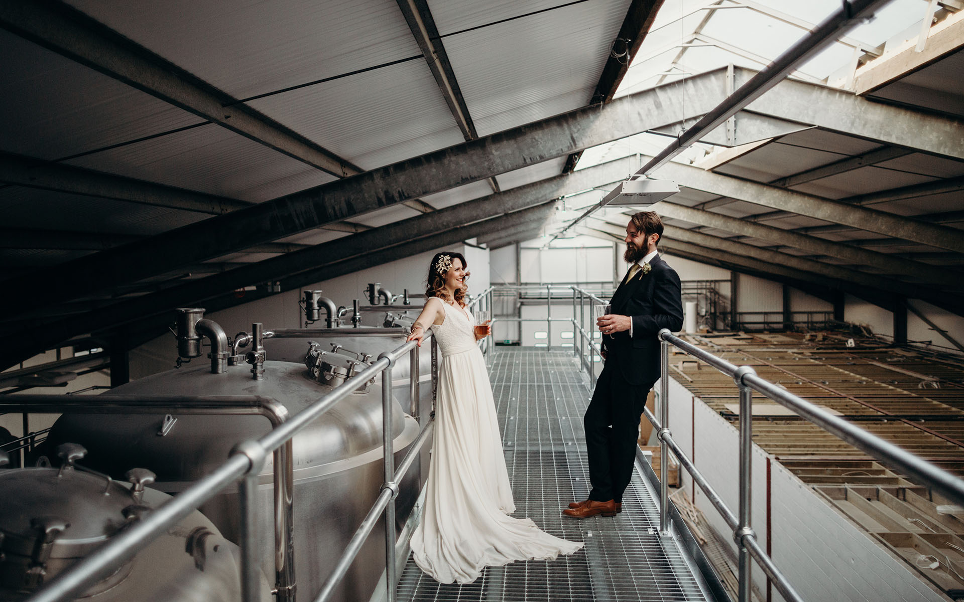 Beer brewery wedding photographer